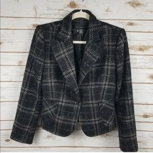 Zara Woman black plaid wool blazer